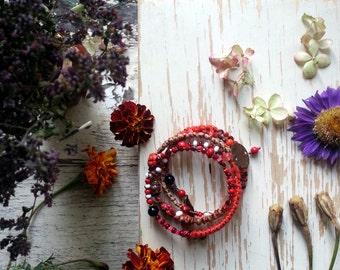Rustic Boho Bangle Bracelet - Wrapped mixed media stacking Bracelet - Rustic Bracelet -  Salvage - mix color  - red  - Bohemian Bangle