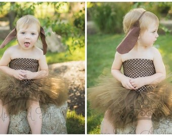 Brown Dog Tutu Dress - Little Girls Size Newborn 12 18 Months 2T 3T 4T 5T 6 7 8 10  Kids Childrens Toddler Size Unique Halloween Costume