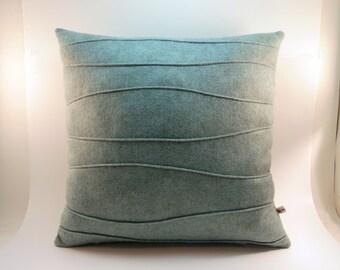 Sea Blue Green Modern Pillow with Wavy Ribbing, Wool Felt Pillow, Accent Pillow, 16 x 16, 18 x 18, 20 x 20