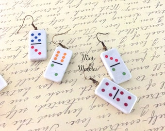 Domino Earrings. Game. Fun. Play. Dots. Polka Dots. Colorful. Oddities. White Rectangle. Rainbow Dots. Under 10 Unique Earrings. Dangle.