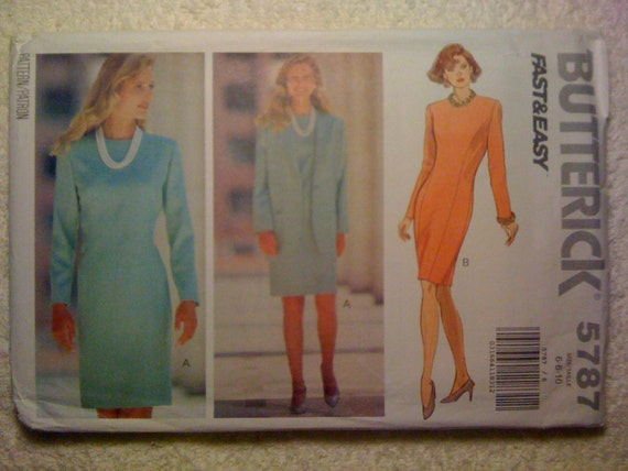 Butterick Sewing Pattern 5787 90s Misses and Misses Petite Jacket and Dress Size 6-8-10 Uncut