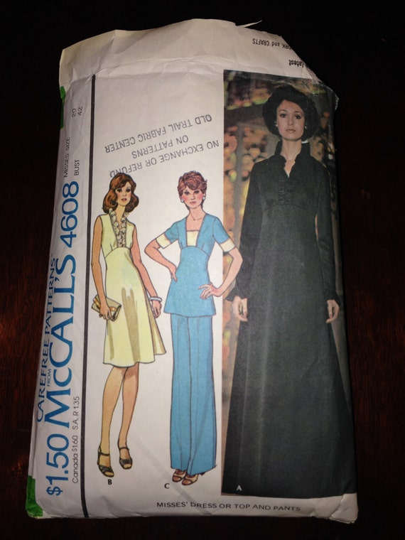 Misses Maxi Dress Or Top And Pants McCalls Sewing Pattern 4608 70s Size 20