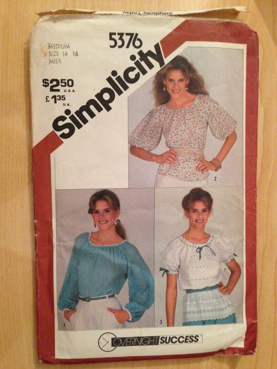 Vintage 80s Simplicity 5376 Sewing Pattern Misses Pullover Top Size 6-8