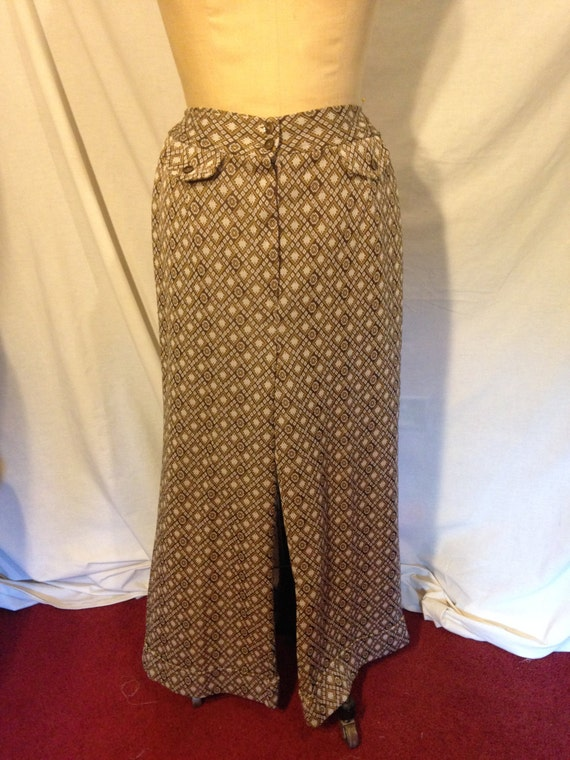 70s Brown and Tan Abstract Polyester Pants b3