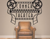 Home Theater Decor, Home Theater Sign, Movie Theater Decor, Home Theater Decor, Personalized Theater Decal - WD0185