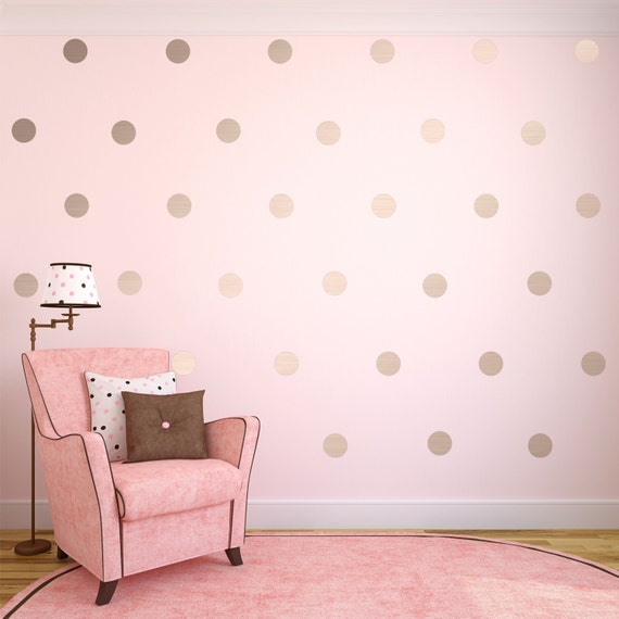 Silver wall decals silver polka dots wall decor silver for How to make polka dots on wall