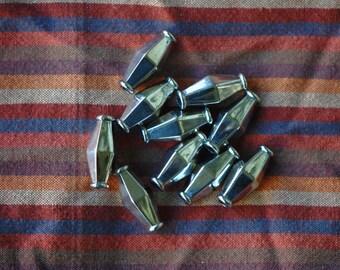 10 Silver Bicone Tube Metalized Plastic Beads | Silvery Vintage Plastic Beads | 24 mm Tube Beads | Metallic Look Beads | Geometric Shape