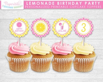 Lemonade Theme Birthday Party Cupcake Toppers | Yellow & Pink | Personalized | Printable DIY Digital File
