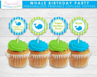 Whale Theme Birthday Party Cupcake Toppers | Blue & Green | Personalized | Printable DIY Digital File
