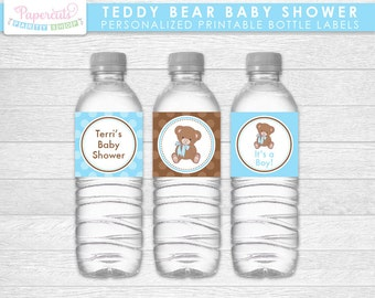 Teddy Bear Theme Baby Shower Water Bottle Labels | Blue & Brown | It's a Boy | Personalized | Printable DIY Digital File