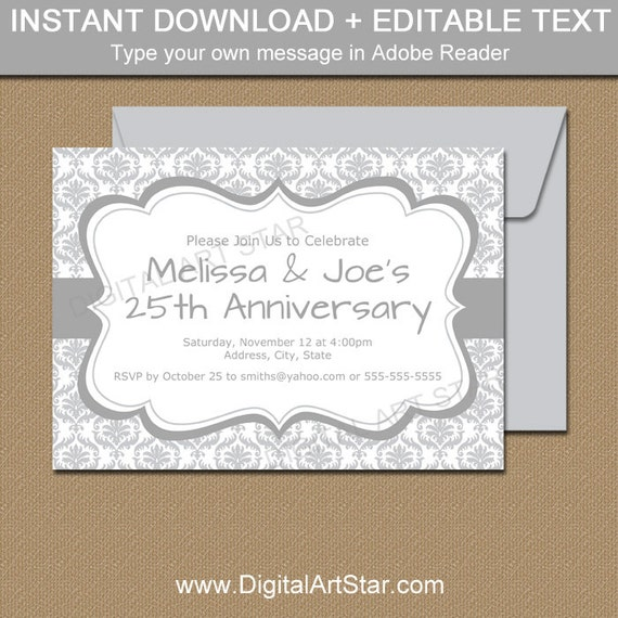 Silver Invitations Instant Download 25th Anniversary