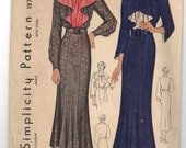 1930's Simplicity Flare top One-Piece Dress Pattern - Bust 34' - No. 1871