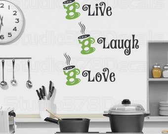 Live Laugh Love Wall Decal | Coffee Cup Decal | Kitchen Vinyl Wall Decal | Inspirational Wall Quotes | Vinyl Wall Lettering | Coffee Decal