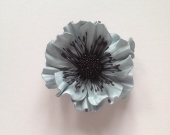 Sky blue leather flower brooch, Leather brooch, Handmade flower, Bridesmaid flower, Mother of the bride flower, Mothers day gift