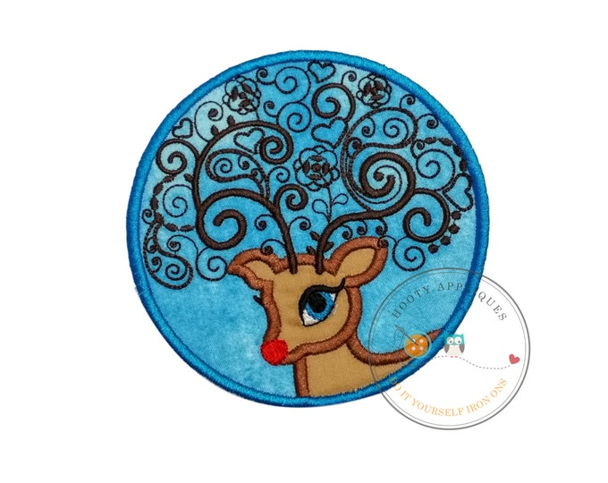 Circle red nose reindeer iron on fabric applique, Machine embroidered Christmas no sew iron on applique, Christmas reindeer iron on applique