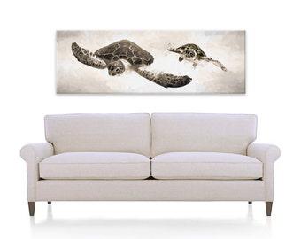 Sea Turtle Canvas, Panoramic, Large Canvas, Sea Turtle Art, Sea Turtle Painting, Coastal, Art Print, Beach Decor, Sofa Art, Neutral, Sepia