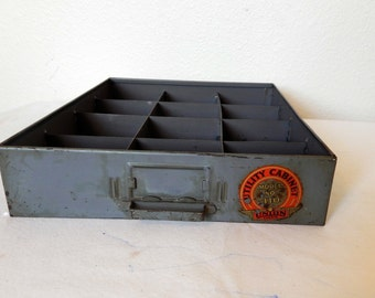 Utility Cabinet Drawer Gray Grey Metal Vintage Union Chests Model 410 Divided Storage Display 1940s 1950s