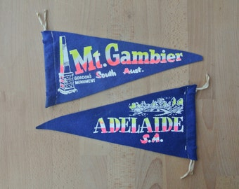 Vintage South Australia Souvenir Pennant Mt Gambier or Adelaide Mid Century Double Sided