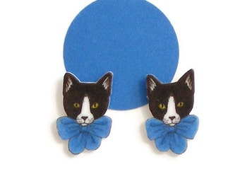 Cat in Bow Earrings Hand drawn