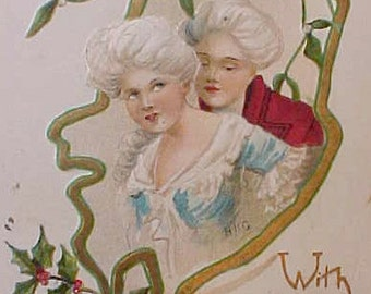 Unusual Edwardian Christmas Postcard with French Courtesan Lovers