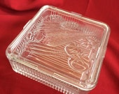 Heavy Ribbed Glass Refrigerator Dish with Embossed Vegetables 1950s