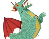 Green Dragon Paper Toy - Paper Toys - DIY Paper Craft Kit