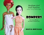 """Easy Romper Outfit Pattern for Medium 11.5"""" Doll clothes: Barbie, Disney Princess, Fashion Royalty, Petite, Tall, Curvy"""