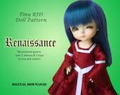 Medieval Renaissance Princess dress clothes pattern for 16cm Tiny BJD: PukiFee Lati Yellow Tiny Delf & similar sized dolls