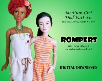 "Easy Romper Outfit Pattern for Medium 11.5"" Doll clothes: Barbie, Disney Princess, Fashion Royalty, Petite, Tall, Curvy"