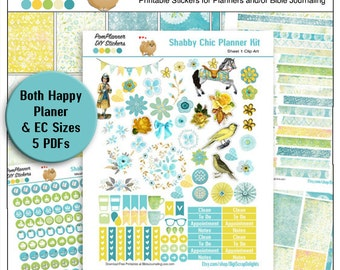 Planner Kit! Shabby Chic Printable Planner Stickers or Bible Journaling 5 Pdf Clip Art, Washi, HP & EC Boxes, Icons