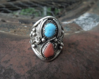 Navajo Men's Ring Sterling Silver Coral Turquoise Size 13 Native American Indian Vintage Artist LR