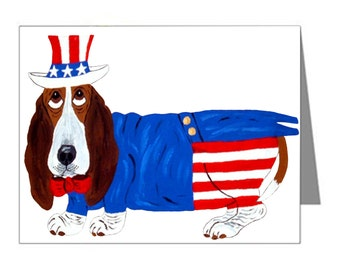 Basset Cards/Basset In Uncle Sam Suit/Basset Hound Cards/July 4th Cards/10 Note Cards & Envelopes/Assortment Available/Squirreldumplings