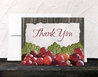 Rustic Winery Thank You Cards - Red Grapes and Green Leaves and Wood Vineyard design - Printed Cards
