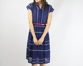 Nautical Japanese Vintage Shirtdress, Small 3563