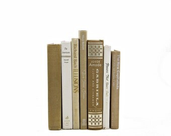 Copper Brown Decorative Books, Old Book Set, IVory Book Decor, Photo Prop, Book Collection, Vintage Books for Decoration, Instant Library