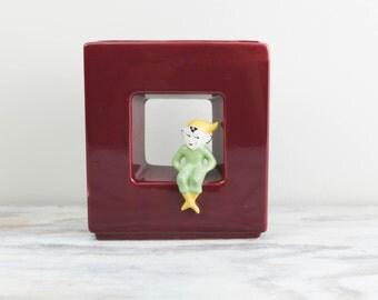 Vintage Pixie / Elf Ceramic Wall Pocket, dark burgundy, green elf (see Item Details for full description).