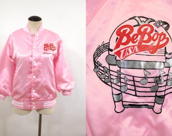 80s Pink BeBop Music USA All American 50s 60s Tribute Sports Track Jacket Lined Windbreaker Baseball Varsity Lady Satin Lady Coat / Womens S