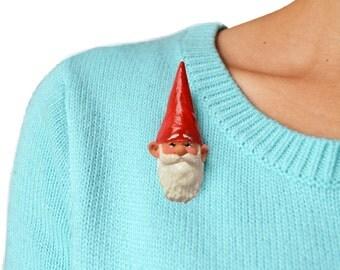 Brooch Garden Gnome Face