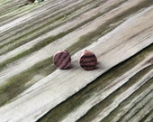 Wood Stud Earrings Handmade Santos Rosewood w/ SS Posts