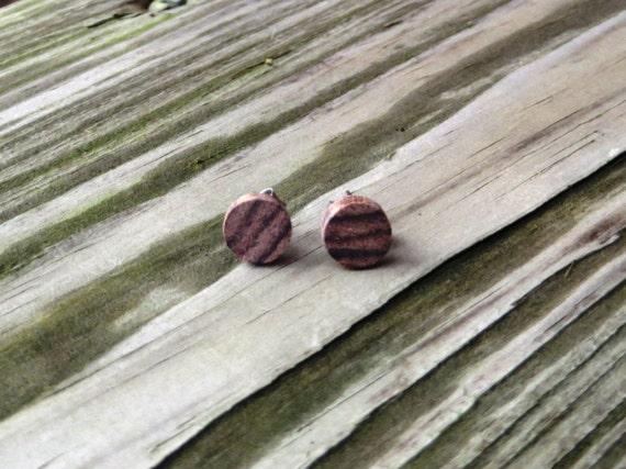 Wood Stud Earrings Handmade Santos Rosewood w/ SS Posts