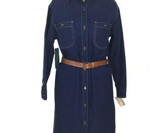 vintage 1980s CALVIN KLEIN denim dress / blue / shirtdress / belted dress / deadstock / women's vintage dress / size medium