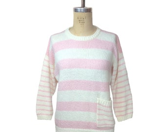 vintage 1980's Diane von Furstenberg striped sweater / pink white / preppy hipster oversize / women's vintage sweater / tag size large