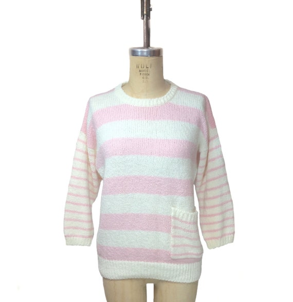 vintage 1980s DVF Diane von Furstenberg striped sweater / pink white / preppy hipster oversize / women's vintage sweater / size large