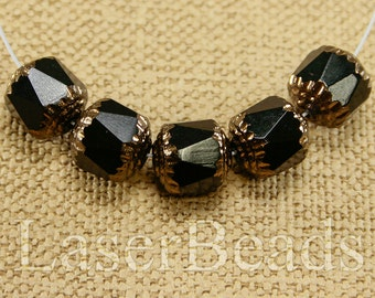 10pc 10mm Black and BRONZE Beads 10mm Czech Fire Polish Round Cathedral Acorn Glass beads 10mm