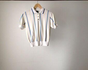 70s STRIPED crop top PETITE women's shirt