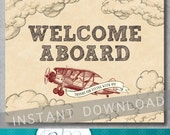 Welcome Sign - Vintage Airplane Baby Shower - Birthday - Baby Boy - Decoration - 8x10 inches - Digital - Printable - INSTANT DOWNLOAD