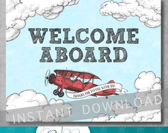 Welcome Sign - 8x10 inches - Vintage Airplane Baby Shower - Birthday - Baby Boy - Decoration - Red and Blue - Printable - INSTANT DOWNLOAD