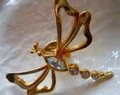 Vintage Dragonfly Brooch, Avon Insect Brooch, Gold and Rhinestone Dragonfly Stick Pin, Natures Garden Crystal Fire Fly, Insect Stick Pin