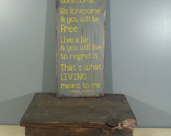 Jimmy Buffett quote -That's What Living is to Me- lyrics Rustic, Distressed, Hand Painted, Wooden Sign with palm trees
