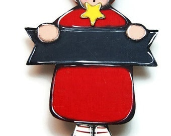 Little red girl sign - Girl door hanger with surname